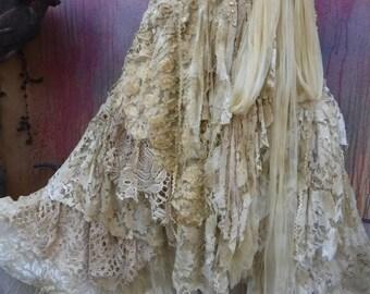 20%OFF  wedding,tattered skirt, boho, mori girl, stevie nicks, bohemian skirt, gypsy skirt, white lace skirt, bellydance, wrap skirt