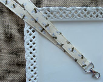 Fabric Lanyard - Honey Bees on Cream