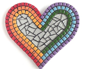 Mosaic Heart, Heart Art, Rainbow Heart Mosaic