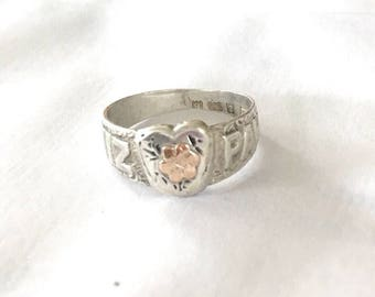 Antique 1901 silver and rose gold mizpah ring with heart and gold flower Priced to sell