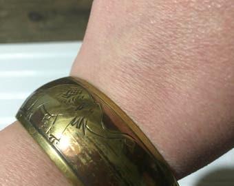Brass elephant bangle bracelet vintage boho chic bohemian fashion