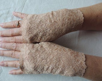 Flesh Color Lace Fingerless Gloves, Skin Tone Bridesmaid Gloves, (Item #8) Tan Victorian Glove, Wedding Glove, Prom Glove, Nude Formal Glove
