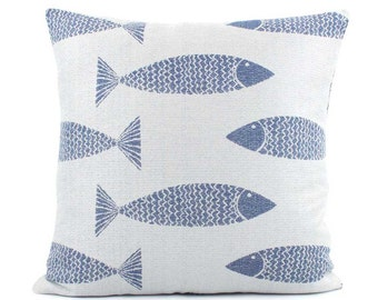 Blue Fish Outdoor Pillow Cover 18x18, 20x20, 22x22 Euro or Lumbar Pillow, Blue Outdoor Pillow, Outdoor Cushion, Throw Pillow, Swim Team