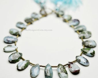 SALE Blue Peruvian Light Blue & Green Larimar Faceted Pear Shape Briolette 12 x 8mm to 15 x 9mm -1/2 STRAND