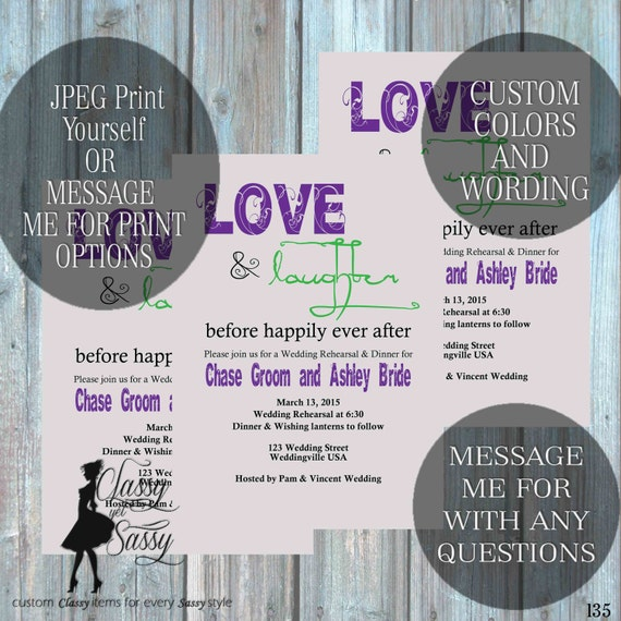 Love and Laughter Before Happily Ever after, Rehearsal dinner invite, couples shower invite 135