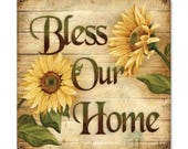 """Bless our Home   metal sign sunflowers home decor metal wall art approx 18"""" x 18"""""""