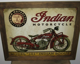 Vintage Framed Indian Motorcycle Tin Sign, man cave,  motorcycle, wall decor, biker