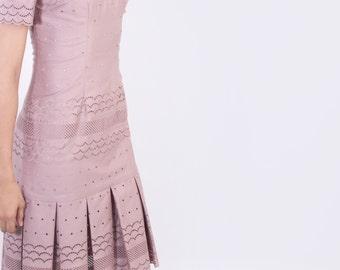 drop waist embroidered plum dress, size 2