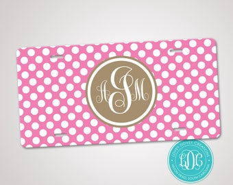 Personalized Monogrammed License Plate Car Tag, Monogram License Plate, Polka Dots License Plate, Monogram Car Tag
