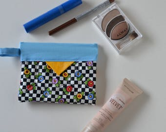 Cotton Cosmetic Pouch, Jewellery Pouch, Patchwork Quilted Snap Bag
