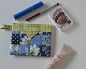 Cotton Snap Pouch, Cosmetic Pouch, Patchwork Quilted Jewellery Bag, Fabric bag, blue green