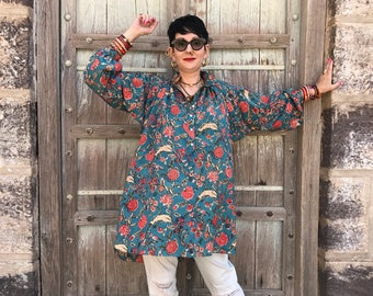 Oversized shirt , old fashioned floral , pure cotton fabric , smock style shirt , teal and pink,