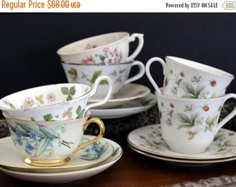 6 Matching Sets Cups and Saucers Lot - Tea Party or Vintage Wedding Favors - Bulk Teacups 13893