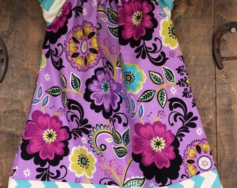 Girl's Peasant Style Dress - A-line - Molly Paisley - Purple violet floral with cream and blue chevron Sizes Newborn to 8 Years