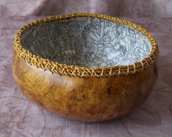 Medium Tan gourd bowl, simple.   1944