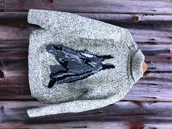 Vintage Hand-Knit Cowichan Horse Sweater in Chunky Wool