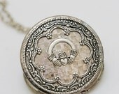 ON SALE Locket,Jewelry,Necklace,Pendant,Claddagh Silver Locket,Irish Locket,vintage style,Wedding Necklace,bridesmaid necklace