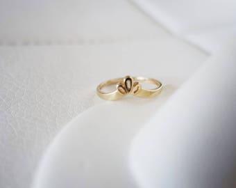 14k Solid Gold Vintage Crown Chevron Princess petite dainty flower design Antique Art Deco Edwardian yellow gold stacking wedding band ring