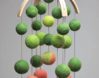Baby mobile/Nursery mobile/Felt balls mobile/Felted Decor/Nursery decor/Crib colorful mobile/Shower gift/Newborn gift/100% USA Handmade