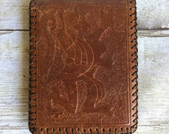 Vintage 60's Leather Wallet - Mexico - Handmade