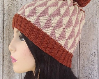 Wool Diamond Pom Pom Patterned Hat