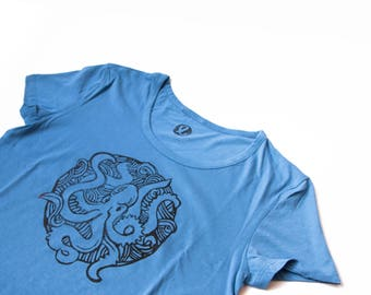 Cotton TEE printed with original hand-carved stamps with OCTOPUS- size LARGE