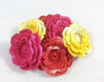 Crochet Flower Appliques - 6 Small and Bright Layered Flowers
