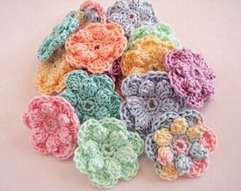 Small Crochet Flowers - 16 Pastel, Popcorn Style, Pastel Flowers