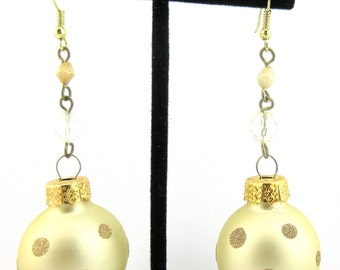Brushed Gold Dot Christmas Ball Glass Ornament Earrings Holiday Party!