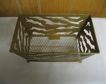 Brass Tone Basket Collectible Display Stylish Current Must Have Look Decor Any Room Home or Office Vintage Patina or Polish As Was Found