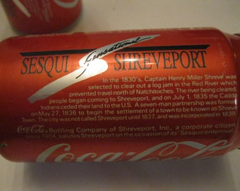 Coca Cola Classic Sesqui Sensational Shreveport, LA Collectible Cans Set of Two Opened, Empty, Used 12 oz Original Formula Coca Cola Find