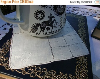 2016 SALE Set of 12 Offwhite Needlework Napkins Coasters with Embroidered Flowers and Drawn Work