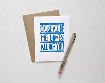 All of me loves all of you card, Romantic cards, I love you card, Anniversary card for husband, for him, Card for boyfriend, Birthday card