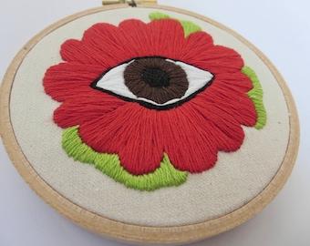 Red Flower Art Contemporary Embroidery Art Eyeball Art Evil Eye Embroidery Art Under 50