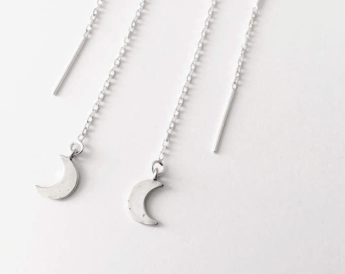 Crescent Moon Threader Earrings in sterling silver - moon earrings - sterling silver moon earrings - moon phase jewelry - threader earrings