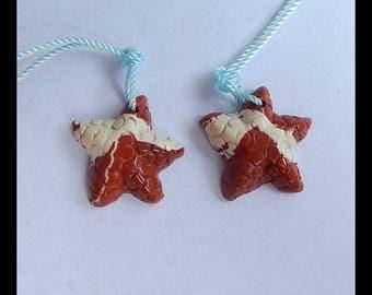 2 PCS Carved Red River Jasper Starfish Pendant Beads,17x5mm,3.47g(c0861)