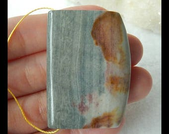 Natural Ocean Jasper Gemstone Pendant Bead,42x30x9mm,21.7g(e0225)