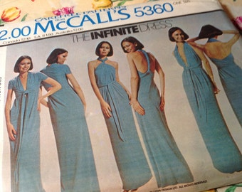 Vintage Mccalls Pattern 5360 - Infinite Dress, 70's, One Size, Knit Only