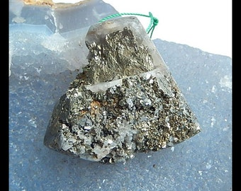 AAA Drusy  Geode Quartz With Pyrite Pendant,40x37x14mm,34.0g