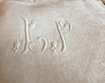 Large Monogrammed Linen Napkins, Antique White Linen Napkins, Monogrammed French Linen, Monogram L P, handmade set, handwork embroidered