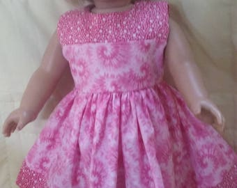 Pretty in pink tie die look dress for 18 inch american girl doll