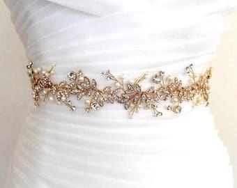 Gold Leaf Vine Delicate Bridal Sash. Boho/Bohemian Crystal Pearl Wedding Belt. Thin, Slim Rose gold Rhinestone Floral Wire Sash. HAILEY