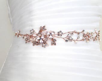 Rose gold Leaf Vine Crystal Delicate Sash. Gold Bridal Pearl Flower Wedding Belt. Boho Silver Wire Rhinestone Bridal Sash. EUGENIA