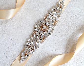 Gold Bridal Crystal Sash. Gold Rhinestone Pearl Applique Wedding Belt. Silver Bridal Sash.