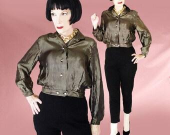 Gold Metallic Blouse - Rare Womens Vintage 50s Jac Shirt - Rayon Satin Retro Blouse - Rhinestone Buttons - 1950s Rockabilly Gold Shirt - VLV