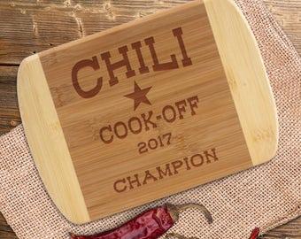 Chili Cook Off Award Bar Board, Chili Cookoff Champion, Two-toned Small Cutting Board,  Hottest Chili Spiciest Chili, Most Traditional Chili
