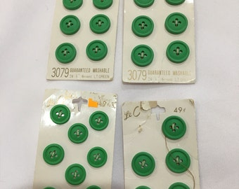Vintage Green Buttons, Le Chic Green Button Cards, Vintage Sewing Supplies