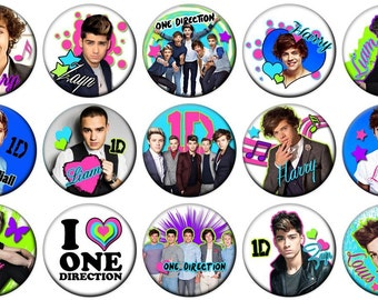 "1"" - ONE DIRECTION -  Lot of 15 Buttons - Pin Back Button Badge"