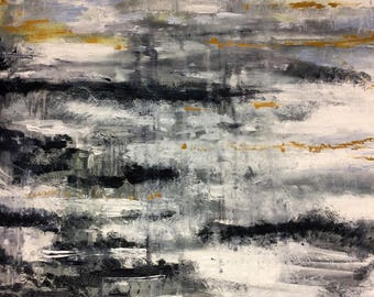 Original Large Abstract Oil Painting; grey, white, black, yellow