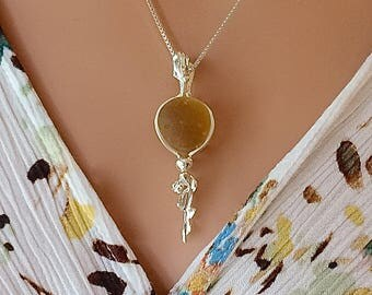 Amber Sea Glass Waterfall Necklace Fine Silver and Argentium Silver Jewelry